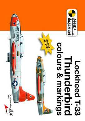 Lockheed T-33 Thunderbird colours and Markings 1/72 Scale Decals