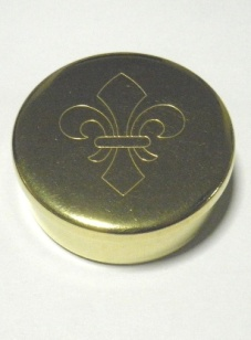 Cap or Pill Box in Brass with Fleur-de-lis design by Tedd Cash