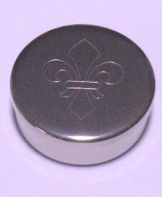 Cap or Pill Box in German Silver with Fleur-de-lis design by Tedd Cash