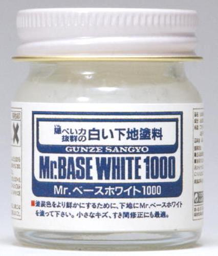 Mr Base White 1000 - 40ml bottle, model base paint and surfacer