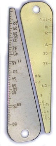 Gun Bore Gauge in Brass - measures bore size in Caliber, Millimeters and Gauge