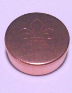 Cap or Pill Box in Copper with Fleur-de-lis design by Tedd Cash