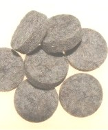 Black Powder Dry Wool Wads, Qty: 100 - .54 cal
