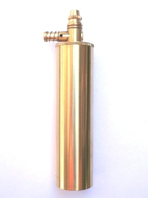 "Treso Brass Powder Flask with Pouring Spout – 5"" length"